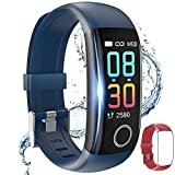 Fitness Tracker,Smart Watch with Body Temperature Thermometer Heart Rate Blood Pressure Monitor Step Calorie Sleep Monitor IP67 Waterproof, Activity Tracker Pedometer for Kids Men Women (Blue+Red)