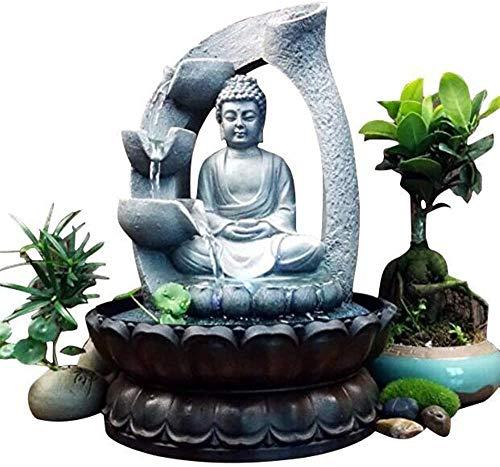 Jimfoty Fuente de Buda, Resina única Decoración de Fuente de Escritorio de Buda Adorno de Mesa con luz para Oficina en el hogar Fuente de Agua de Mesa de Buda(Enchufe de la UE)