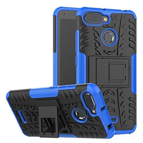 TenYll Xiaomi Redmi 6/6A Hülle, 2in1 Silikon Rückseite Schutzhülle,Heavy Duty Tough Rugged Shock Proof Case,Mit Halterung Doppeltem Schutz Cover für Xiaomi Redmi 6/6A -Blau