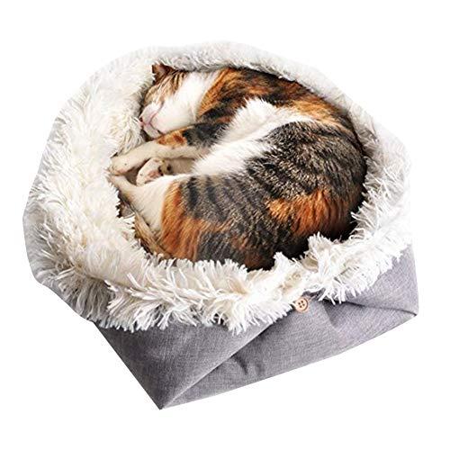 Xingsiyue Katzen Schlafsack 2 in 1 Faltbar Kuschelhöhle Für Komfortabel Katzenhöhle Katzen Haus Katzenbett