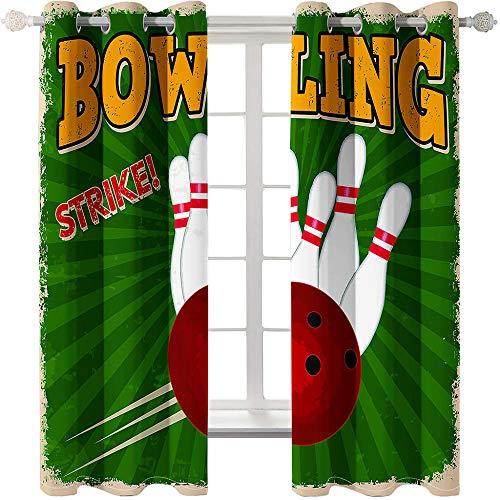 Vorhänge Blickdicht Verdunkelungsvorhang Für Wohnzimmer Gardinen Mit 2 Stücke 280X250Cm Gardinen Mit Ösen Grüne Bowlingkugel Für Schlafzimmer Geräuschreduzierung