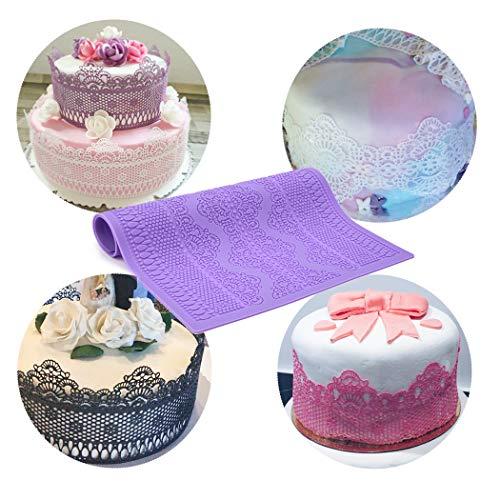 CkeyiN DIY Moule de Dentelle - Silicone de qualité Alimentaire pour Décoration de gâteau Fondant au Chocolat Bonbons (Violet)