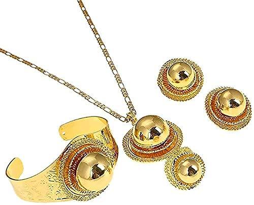 ZJJLWL Co.,ltd Collar Etíope Collares de Color Dorado Pulsera Pendientes Anillo Color Dorado Conjuntos de joyería de Boda de Eritrea