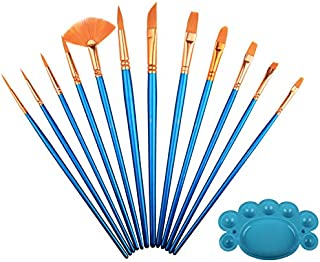 12 Pcs Art Oil Acrylic Watercolor Paint Brush Set Palette Acrylic Drawing Brushes Art Supplies With Palette
