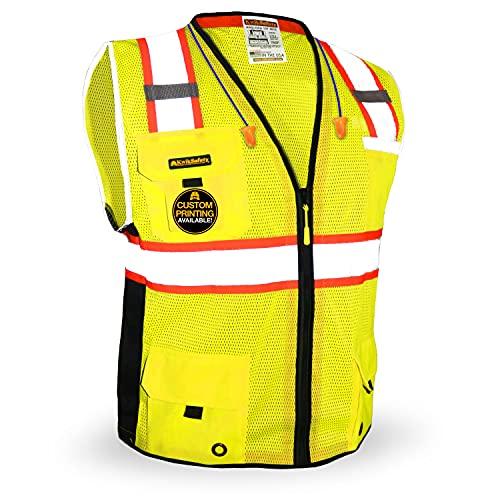 KwikSafety (Charlotte, NC) BIG KAHUNA (11 Pockets) ANSI Class 2 OSHA Construction Safety Vest Reflective High Visibility...