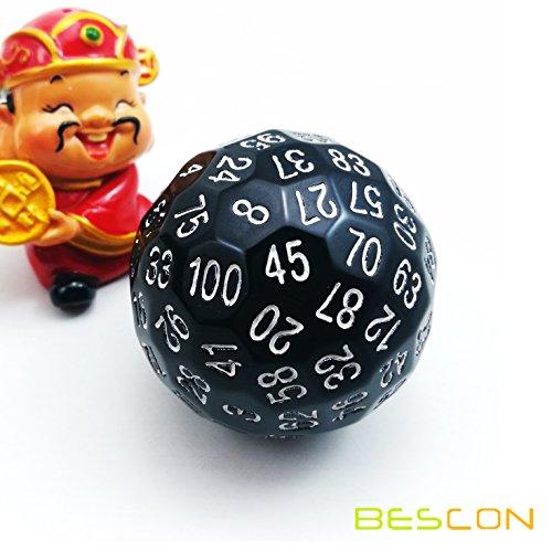 Bescon - Dado poliédrico de 100 lados, troquel D100, dado de 100caras, juego de dados D100, dado de color negro