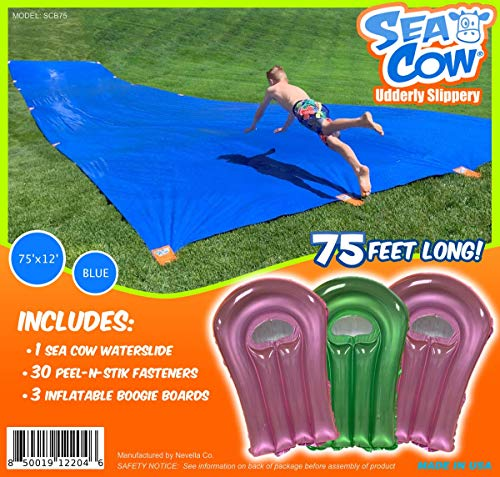Sea Cow Blue Giant Waterslide 75 x 12 - Includes - 3 Inflatable Boogie Boards, 30 Easy Peel-N-Stik Fasteners, 15 Stakes