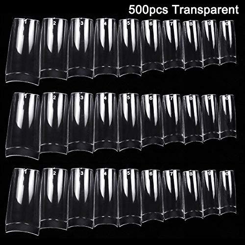 Majome 100 / 500pcs Nails Demi Français Faux Nail Art Conseils Acrylique Gel UV Manucure Tip