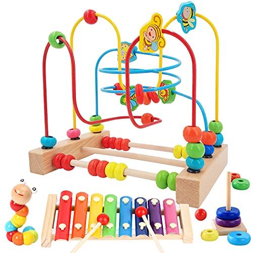 Jecimco ビーズコースター ルーピング おもちゃ 子供 知育玩具 セット ベビー 早期開発 男の子 女の子 誕生日のプレゼント アクティビティキューブ