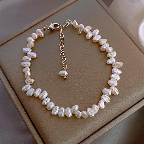 Pulsera Joyas Corea Joyería De Moda Simple Blanco Natural Perlas De Agua Dulce Pulsera Mujer Diario Salvaje Pulsera