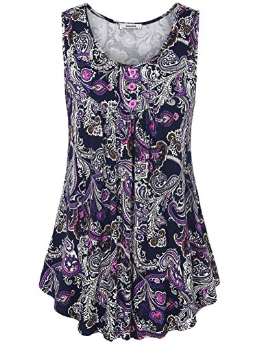 Youtalia Summer Tops for Women, 2017 Fashion Clothing Scoop Neck Paisley Print Flowy Tank Top Purple XX-Large