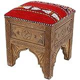 Casa Moro marroquí Taburete Oriental - Kelim Pouf reposapiés tiflet | MO4032