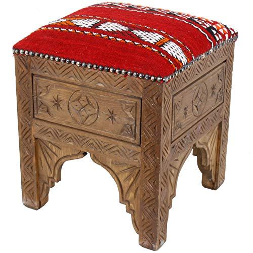 Marokkanischer Hocker Tiflet orientalischer Polsterhocker 37 x 37 Sitzhöhe 43 cm | Handmade Fußhocker mit handgeknüpftem Kelim-Bezug Berberteppich | Schöne Dekoration ein Traum aus 1001 Nacht | MO4032