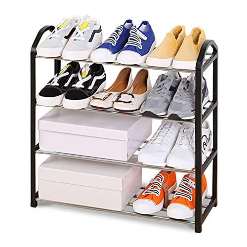 LSSB 4 Niveles Mueble Zapatero Multifunción Acero Inoxidable Rack De Almacenamiento Abierto Ahorra Espacio Organizador De Zapatos para Pasillo Cuarto Cocina Balcón Cuarto De Baño