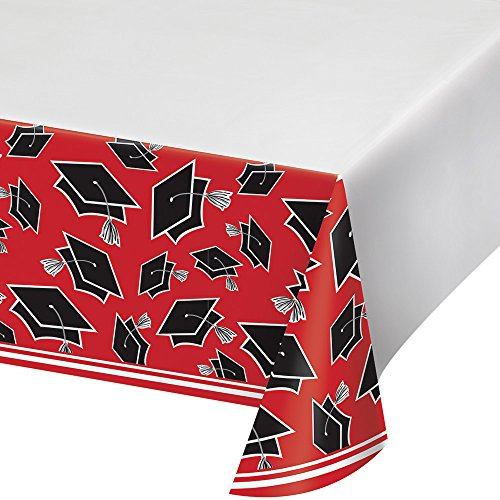 Creative Converting 320086 School Spirit Border Print Plastic Tablecover For Graduation Party, 54 x 102, Classic Red