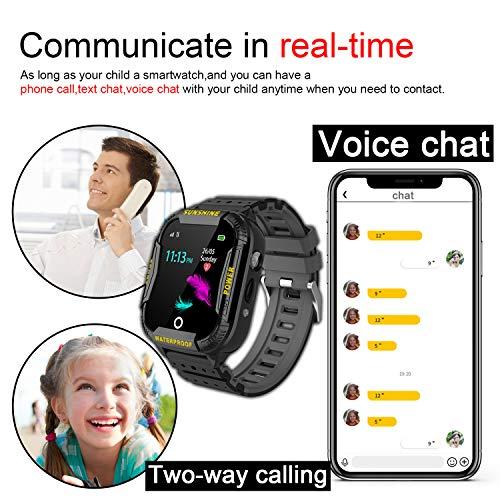 Kinder Intelligente Uhr Wasserdicht, Smartwatch WiFi Tracker mit Kinder SOS Handy Touchscreen Spiel Kamera Voice Chat Wecker für Jungen Mädchen Student Geschenk (K22 Schwarz)