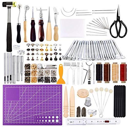 Ekalee 183 Pcs Leder Werkzeug Set, Lederhandwerk-Werkzeugsatz für Sattelherstellung, Leder Nietensatz, Lederhammer für die Lederverarbeitung, Lederherstellung, DIY für das Lederhandwerk
