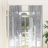 Gardinen Schals Voile mit Kräuselband Grau Transparente Vorhänge für Schiene Vorhang mit Äste Motiv Wohnzimmer Schlafzimmer Lynette (2er-Set, je 145x135cm)