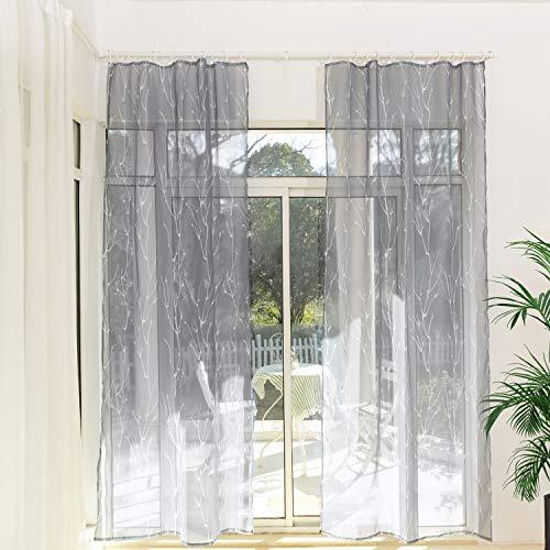 Gardinen Schals Voile mit Kräuselband Transparente Vorhänge für Schiene Grau Vorhang mit Äste Motiv Wohnzimmer Schlafzimmer Lynette (2er-Set, je 245x135cm)