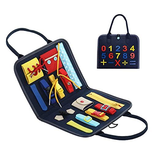 Nrkin Tablero Ocupado para niños pequeños Habilidades básicas Tablero de Actividades para niños pequeños Aprenda a Mejorar Las Habilidades motoras Finas Juguetes educativos y sensoriales tempranos