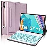 Funda Teclado Español Ñ para Samsung Tab S7, DINGRICH Bluetooth Teclado Portalápiz Extraíble Inalámbrico 7 Color Retroiluminación para Tablet Samsung Galaxy Tab S7 SM-T870/T875/T878 11' 2020 Oro Rosa