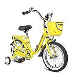 COEWSKE Kid's Bike Steel Frame Children Bicycle 14-16 Inch with Training Wheel (Yellow, 16 Inch)