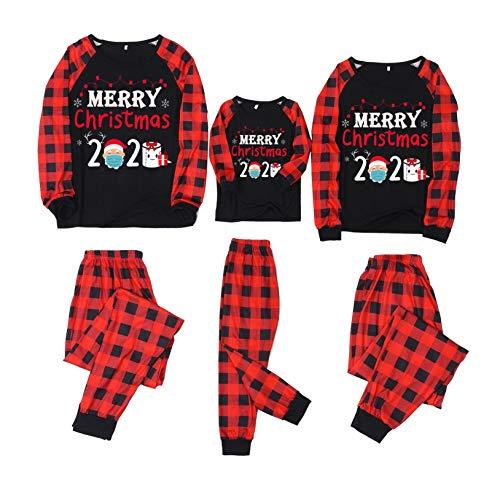Frohe Weihnachten der Hausfrau Herren Passende Weihnachtspyjamas Kinder Rot Plaid...