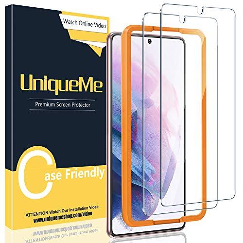 [2 pezzi]UniqueMe Pellicola Protettiva Compatibile con Samsung Galaxy S21 Plus/ S21+(6.7 Pollici)[Bubble-Free], [Facileinstallare] Vetro Temperato Con strumenti di installazione[videotutorial].