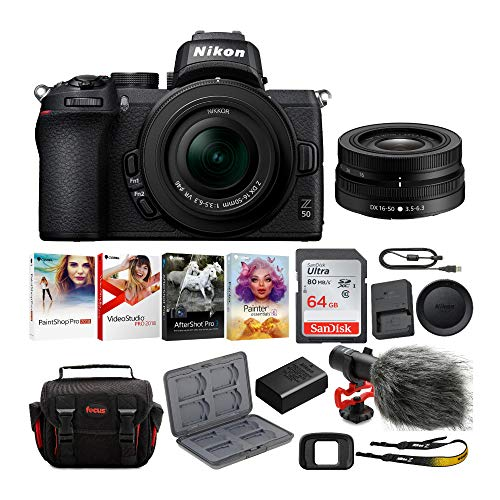 Nikon Z50 Mirrorless Camera with Nikkor Z 16-50mm VR Lens, Microphone, 64GB Card, Software and Accessory Bundle (6 Items)