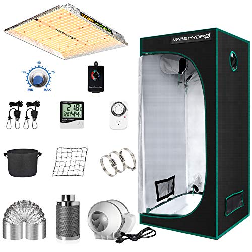 "MARS HYDRO Grow Tent Kit Complete 2.3x2.3ft TS1000W LED Grow Light Dimmable Full Specturm Indoor Grow Tent Complete System, 27'x27'x63' Hydroponics Grow Tent Kit 1680D with 4"" Ventilation Kit"