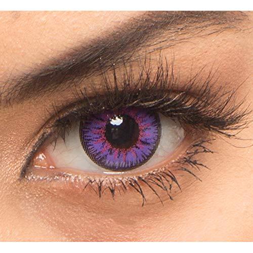 Farbige Lila Violett Crazy Fun Kontaktlinsen 'Vega' Mit & Ohne Stärke mit Gratis Linsenbehälter - Topqualität zu Karneval, Fasching und Halloween (0,0 Ohne Stärke)
