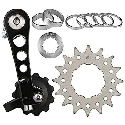 CyclingDeal Conversion Kit Fixie Bike Single Speed Aluminum Chain Tensioner with Adaptor for Road Bike and MTB
