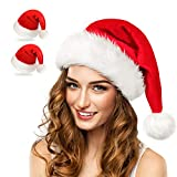 Christmas Hat, Santa Hat, Xmas Holiday Hat for Adults, Unisex Velvet Extra Thicken Classic Fur for Christmas New Year Festive Holiday Party Supplies