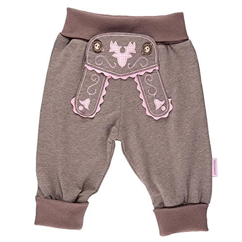 P.Eisenherz Babyhose im Lederhosenstil mit rosa Stickerei
