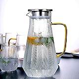 Kamenda Hervidor de agua de cristal, tetera martillada, hervidor de agua resistente, vidrio de borosilicato + acero inoxidable, 1500 ml