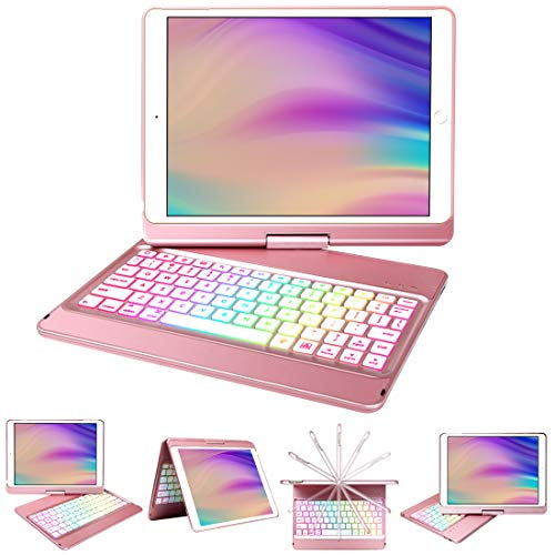 iPad Keyboard Case 10.2 for iPad 8th Generation/7th Gen,Keyboard for 10.2 8th/7th Gen with Wireless BT 5.0 Keyboard-10 Color Backlit-360° Rotatable Slim Protective Cover-Auto Sleep/Wake Tablet Case
