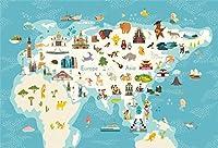 HD動物の世界地図の背景7x5ft漫画の赤ちゃん大陸海洋写真の背景子供たちの誕生日パーティーの装飾学校クラス新生児の男の子娘芸術的な肖像写真ブースの小道具