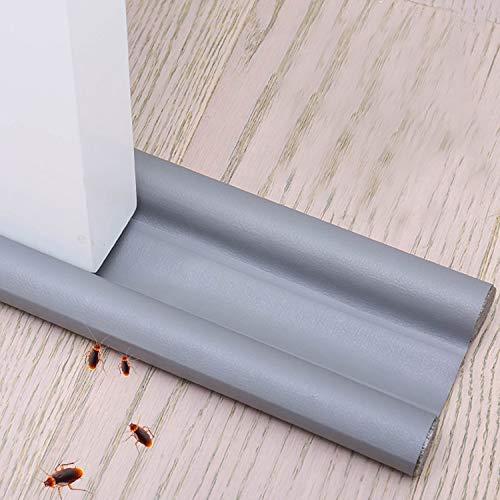 Xnuoyo 90 cm Burlete bajo puerta aislante de doble Tira flexible de sellado para la parte inferior de la puerta Se puede cortar a medida Protección contra Corrientes de Aire y Ruido