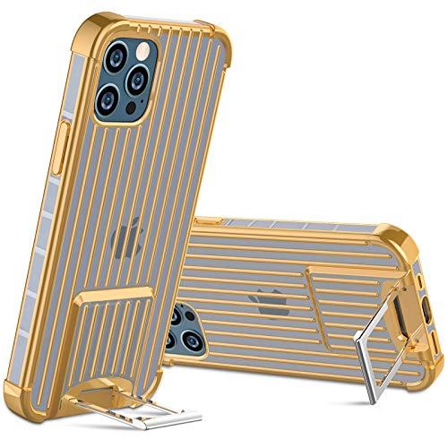 OCYCLONE [Koffer-Serie] Design für iPhone 12 Pro MAX Hülle, eingebauter [Zwei-Wege-Ständer] Textur Anti-Rutsch Stoßfest Weiche Schutzhülle Handyhülle für iPhone 12 Pro MAX 5G 6,7 Zoll - Or