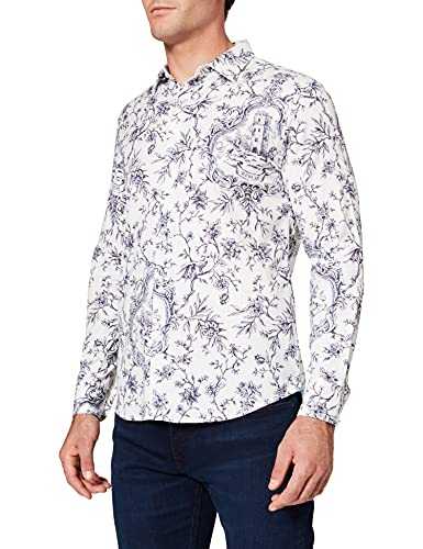 REPLAY M4049 Camisa, 010 White/Blue, L para Hombre