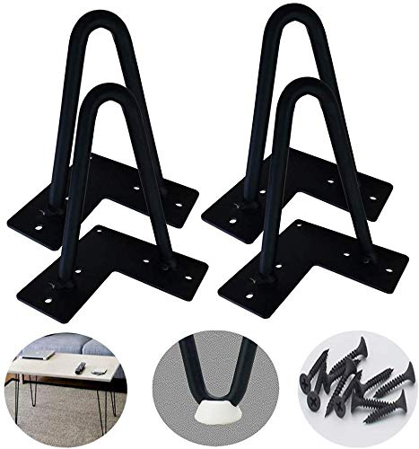 CCLLA Möbelbeine Schwarze Haarnadelbeine (4er-Set) - mit Schrauben, Metallbeinen für schwere Moderne Mid-Century-Tischbeine, für TV-Ständer, Sofa-Beistelltische, Nachttische, Beistelltische usw