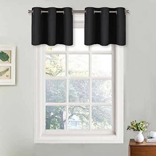 NICETOWN Small Window Valances Curtains - Thermal Insulated Home Decor Blackout Grommet Tier Curtains Drapes (29W by 18L + 1.2 inches Header, Black, 2 Pieces)