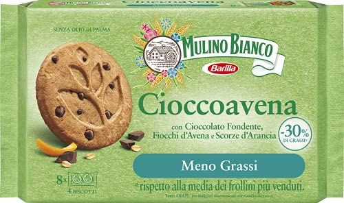 Mulino Bianco Cioccoavena Biscotti con Meno Grassi, Cioccolato Fondente, Fiocchi di Avena e Scorze d'Arancia, Confezione 220 g con 8 Monoporzioni da 4 Biscotti