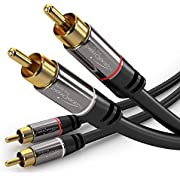 KabelDirekt RCA Stereo Cable, Cord (10 feet Short, Dual 2 x RCA Male to 2 x RCA Male Audio Cable, Digital & Analogue, Double-Shielded, Pro Series) Supports (Amplifiers, AV Receivers, Hi-Fi)