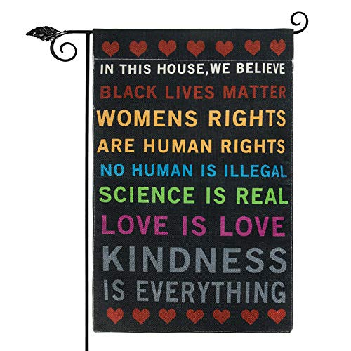 Unves in This House, We Believe Flag, Vertical Double Sided Black Lives Matter Garden Flag 12.5 x 18 Inch Burlap BLM Flag Yard Sign Outdoor Decor