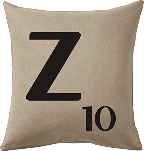 Cojines con la Letra Z imitación fichas de Scrabble o apalabrados Medida 45X45 cm. Color beig. Solo Funda