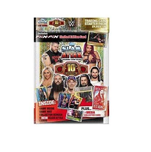 Topps WWE Slam Attax 10 Trading Cards Starter Pack Album Mit Limitierter Auflage