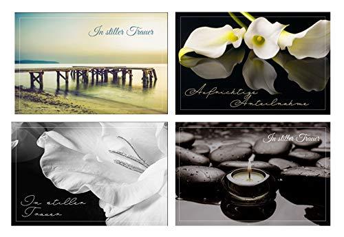 Merz Designkarten 12 Stück (3x4) einfühlsame Premium-Trauerkarten/Beileidskarten im Set mit 12 Briefumschläge - Anteilnahme Trauerkarte, Spruch