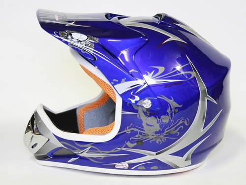 Helm Kinderhelm Motorradhelm Crosshelm Motocrosshelm Sport Blau S