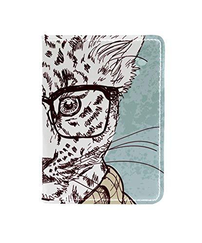 TIZORAX - Funda de piel con diseño de leopardo hipster con gafas y traje para pasaporte